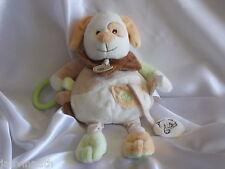 Doudou d'activités, chien beige, écru, vert et blanc, Baby Nat, (Babynat)