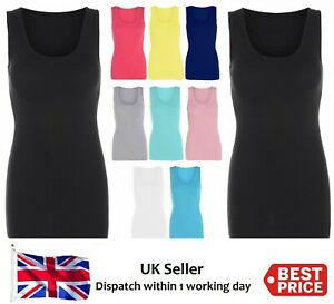 New Ladies Women's Summer Fitted Ribbed Strap High Back Vest Casual Size 8-32 UK