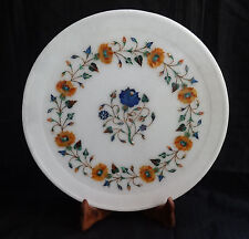 """12"""" Marble Plate Marquetry Lapis Carnelian Floral Handmade Floral Inlay Decor"""