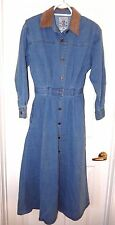 Studio 25 Shapely Cowboy Western/Prairie Denim Dress-S  Corduroy collar, pockets