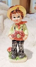 "VINTAGE ERICH STAUFFER PORCELAIN FIGURINE - FARM BOY- 7"" TALL - MADE IN JAPAN"