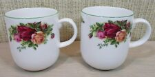 (2) Royal Albert Old Country Roses Set 2 Mugs Coffee Tea Hot Chocolate Green Rim