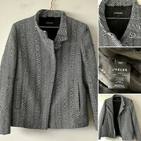 JAEGER Herringbone Black White Wool Jacket Biker UK10 Smart Casual