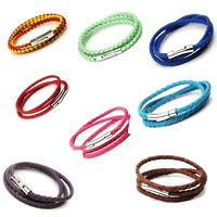 Handmade 3 Wrap Real Plaited Leather Unisex Bracelet Stainless Steel Clasps