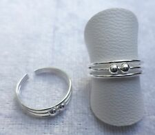 Toe/Pinky/Finger Ring 925 - 170A5 Adjustable Sterling Silver Double Bead
