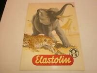 altes Hausser Elastolin Werbeposter Reklame Plakat mit Tieren Elefant Leopard