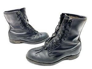 Addison Shoe Company Black Combat Boots sz-8.5 W- Lace to Zip- 1970 Vintage