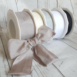 15,25,40mm Wired Faux Silk Ribbon Taupe Grey Black White Neutral Silky Taffeta