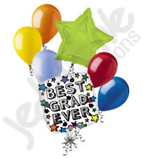 7 pc Best Grad Ever Colorful Stars Graduation Balloon Bouquet Congratulations