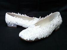 SIZE 5/38 NEW WHITE SATIN & LACE BRIDAL SHOES, SMALL HEELS