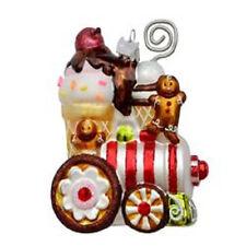 "NB0742 Noble Gems 4.5"" Ice Cream Gingerbread Train Glass Christmas Ornament"