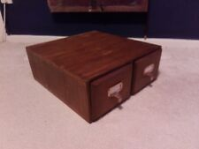 Vintage 2 Draw Wood Wooden Oak Filing Cabinet Box Draws C1930s