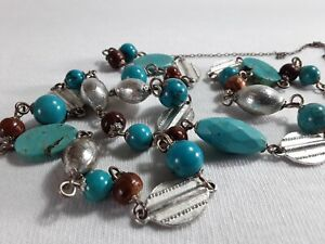 Wired Necklace with Turquoise Beads, Claspless