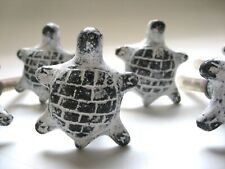 Large Turtle Drawer Pulls Distressed White Paint on Metal Lot of 6