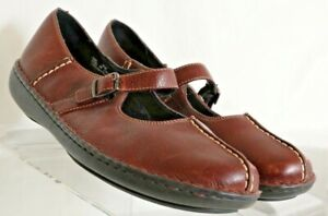 Clarks Brown Leather Split Toe Buckle Strap Mary Jane 77604 shoes Women's 9.5 M