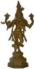 "Rare Jai Krishna Fluting Statue 19.9"" Vintage Bronze God Hindu Figure Art 6.9 KG"