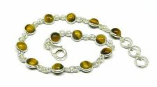 Handmade 925 Sterling Silver Bracelet Real Round Tiger's Eye Stones and Gift Box