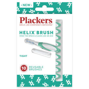PLACKERS Helix Brush for Tight Spaces- 60 count ( 6 bags of 10 count each)