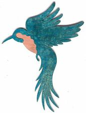 "COPPERCUTTS Hummingbird Wall Plaque 6.5"" x 8.5"" Rustic SouthWest Copper and Wood"