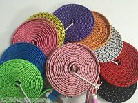 Fabric Braided flat noodle Data Sync Power Charger Cable FOR iPhone 4 4s iPod 3