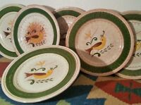 6 STANGL bird dinner plates vtg denmark table studio art pottery ny Georg Jensen