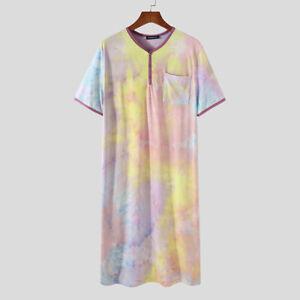 Men's Short Sleeve Nightgown Sleepwear Nightshirts Robes Bathrobe Pajamas Shirts