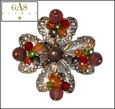 VINTAGE FRENCH SIGNED GAS BIJOUX SILVER FILIGREE AND GLASS FLOWER BROOCH PIN