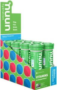 Nuun Electrolytes + Caffeine Hydration Tablets: Wild Berry, Box of 8 Tubes
