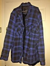 HURLEY Heavy Duty Fleece Fur Lined Plaid Men's Work Shop Comfort Coat SZ XL