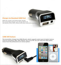 5V/2.1A USB Car Charger Wireless FM Transmitter MP3 3.5mm AUX Input LCD Display