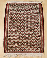 HOME DECORATIVE KURDISH KILIM RUG HAND WOVEN RED RECTANGLE WOOL AREA RUGS 2X3ft.