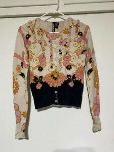 Anthropologie Charlotte Tarantola floral ruffle button down sweater Sz S