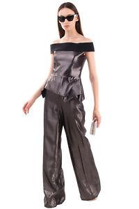RRP €2720 ROLAND MOURET Jumpsuit Size 10 M Silk & Wool Blend Metal Effect Bardot