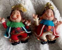 2 Vintage Ole King Cole Mother Goose Nursery Rhyme Flock Christmas Ornaments