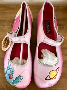 Hot Chocolate Design Mary Jane Shoes Chocolaticas Space/Robot Sz 6 STAINED