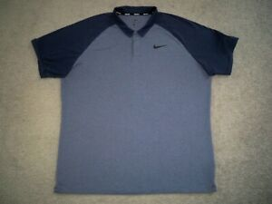 Men's NIKE GOLF Dri-Fit Polo XL BLUE BLOCK w/Black Swoosh & Golf Logo
