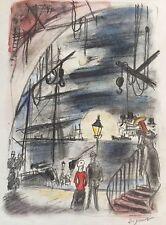 André DIGNIMONT 1891-1965.Sur les quais.Projet de décor.Dessin.SBD.26x20.Cadre.