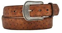 3D Belt Mens Western Leather Overlay Vintage Ostrich Feathered Belt Brown Size40