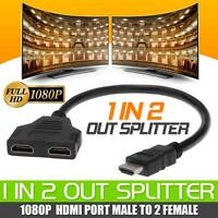 HDMI Splitter Male to Female 1 Input 2 Output Port Cable Adapter Converter 1080P