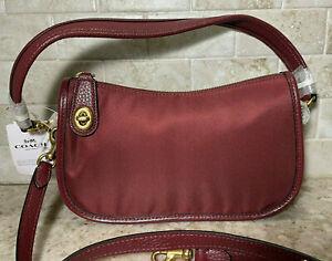 Coach Women's Nylon/Leather Swinger Bag C0835 Wine NEW
