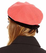 Kate Spade Contrast Bow Beret Costume Pink & Black Acrylic Wool Winter Hat NEW