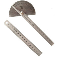 "Stainless Steel 180 Protractor Angle Finder Arm Measuring 100mm +6"" 150mm Ruler"