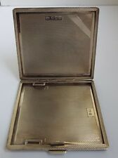 FINE CLEAN ENGLISH ANTIQUE ART DECO 1936 SOLID STERLING SILVER CIGARETTE CASE