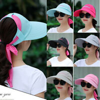 Women Ladies Hat Sun Wide Brim Cap Beach Summer Visor Color Block UV Protection