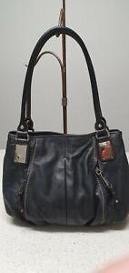 Tignanello black Soft Leather shoulder bag with silver hardware