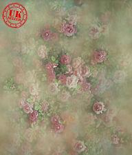 ROSE FLOWER GREEN WALLPAPER BACKDROP BACKGROUND VINYL PHOTO PROP 5X7FT 150x220CM