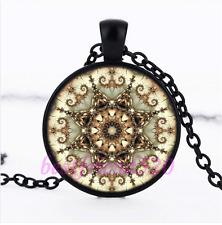 Mandala Photo Glass Pendant Black Necklace for man woman Jewelry