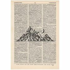 Mountain and Moon Dictionary Print OOAK, Mystic, Art, Unique, Gift,