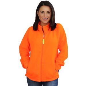 TrailCrest Womens Semi-Fitted Safety Blaze Orange Full Zip Thick Fleece Jacket
