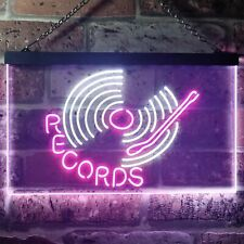 Records Turntable DJ Bar Dual Color LED Neon Sign st6-i3302